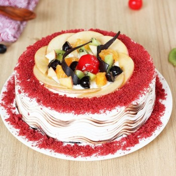 Eggless Red Velvet Fruit Cake