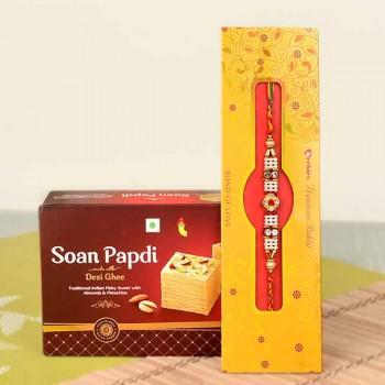 Rakhi with 250 Gms Soan Papdi