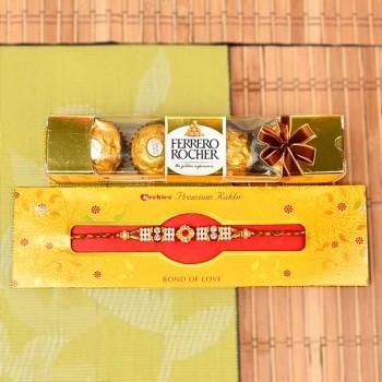 Pearl Rakhi and 4 Pcs Ferrero