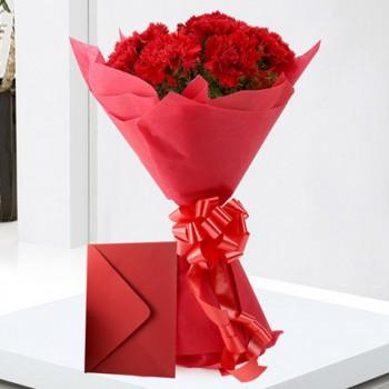 Red Carnations n Greeting Card