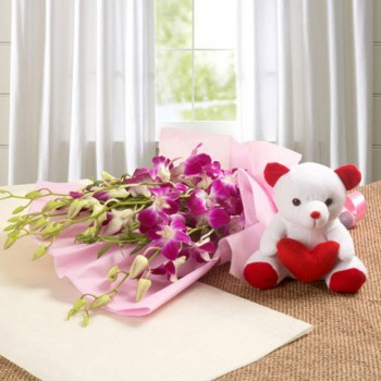 6 Purple Orchids n Teddy