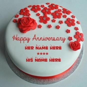 Red Roses Anniversary Fondant Cake