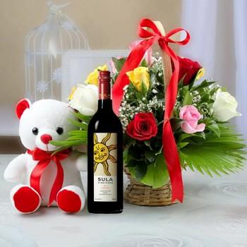 Flowers Basket with Teddy n Wine