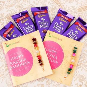 2 Rakhi n 5 Dairy Milk Chocolates