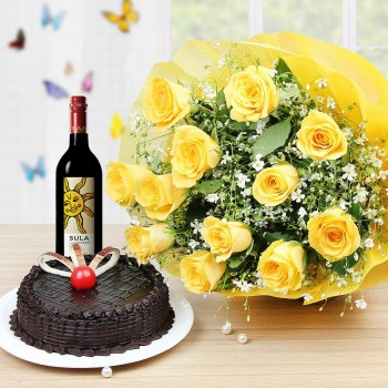 Yellow Roses wine n Cake