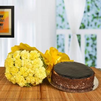 Yellow Carnations n Cake