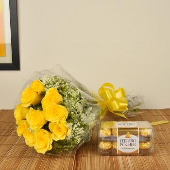 Yellow Roses n Ferrero