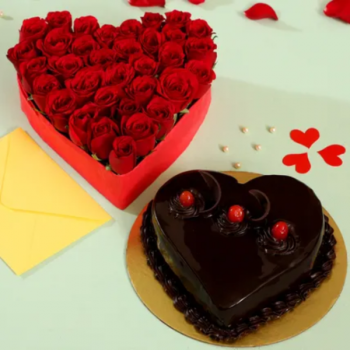Heart of Red Roses and Truffle Cake